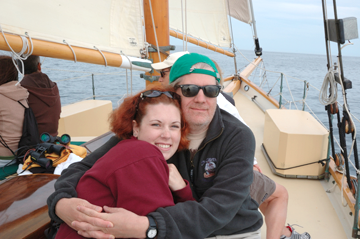 Simone and her Dad aboard the Eleanor, Kenebunkport, ME